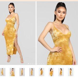 Yellow tie dye maxi dress